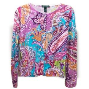 Lauren by RL Vibrant Sweater Long Sleeves Size L